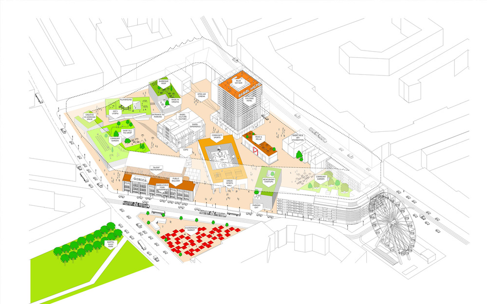 Our proposal was not to choose between an open or a closed city block. We superposed an open urban tapestry of public functions with a traditional housing block. With this, both qualities were added to the site.