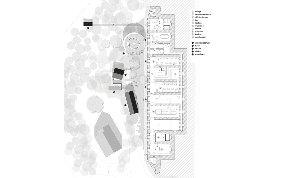 Floor plan of barracks after transformation