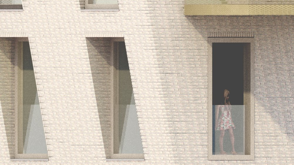 The tilted volume raises an interesting set of window details, referring to the Amsterdam School building on the opposite side of the park.