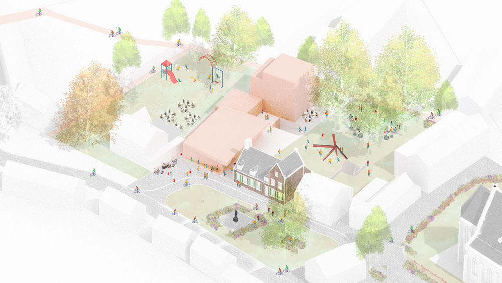 On the medieval square of Zandhoven, the new community centre will make a connection between the square and the hidden garden, opening it up for public use.