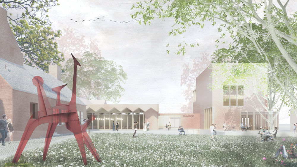 The library is set behing the community hall in a vertical sense and mimics the tree size. Large openings allow views of the large trees to enter the interior spaces.