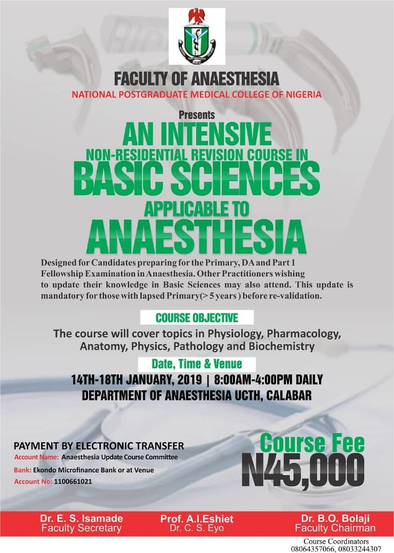 Coming Events Nigerian Society Of Anaesthetists