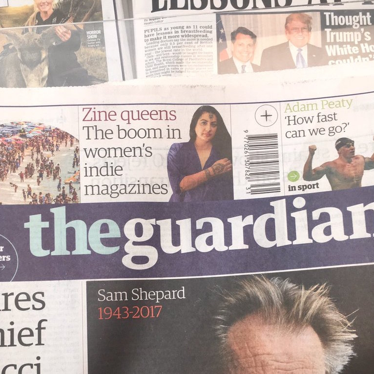 On the Guardian - front page and G2 interview, as well as online article, talking about independent magazines creating by women.