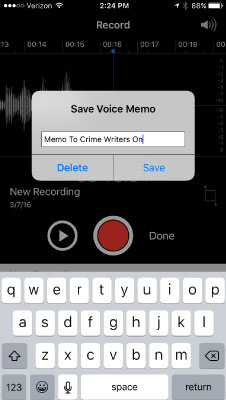 Step 4: When you're finished recording, press where it says DONE. Then give your voice memo a name and save it.