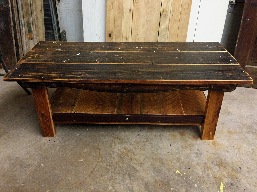 """New"" Coffee Table using reclaimed floor boards."