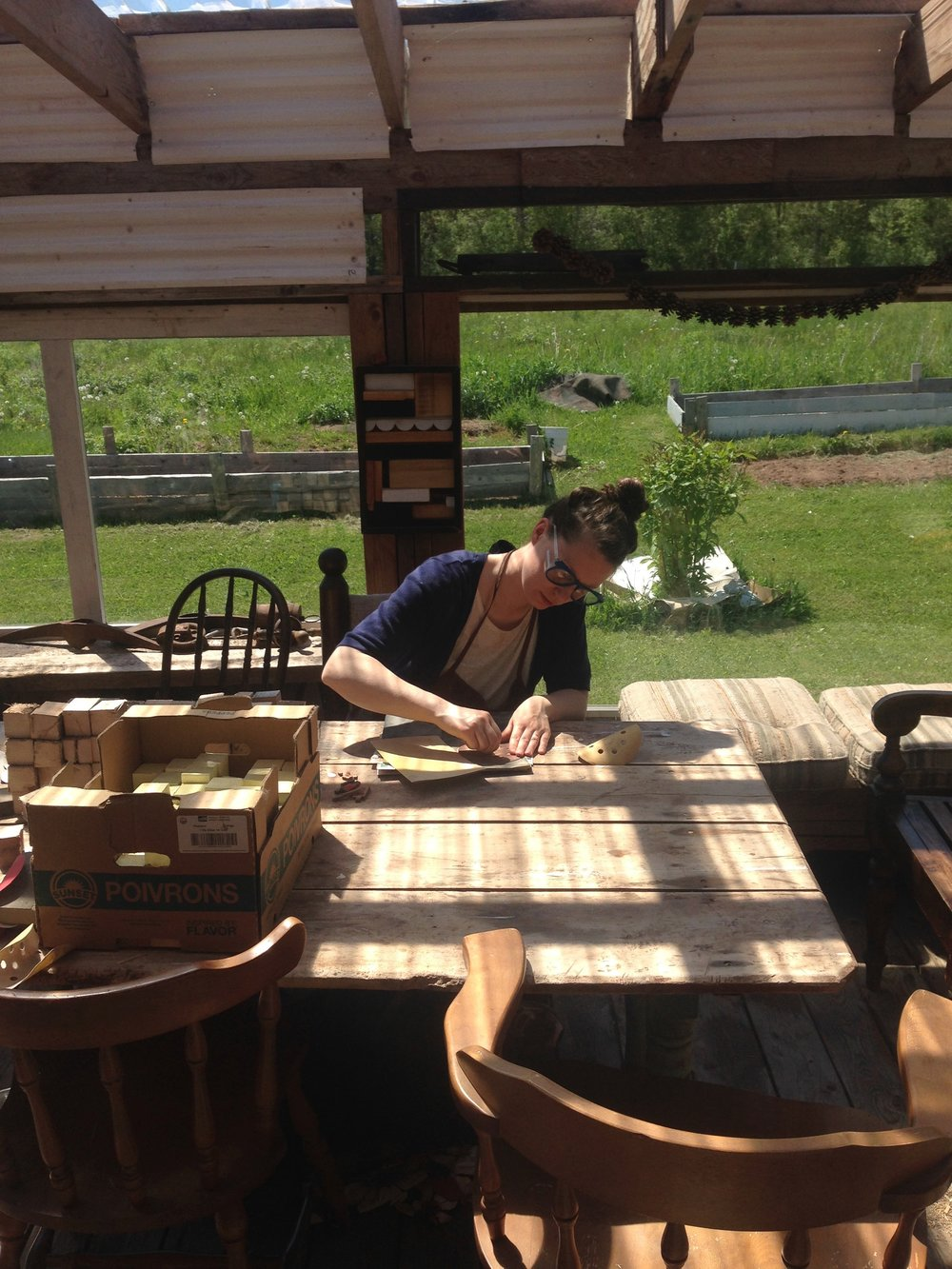 Heather sanding.