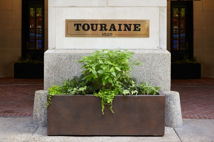 Sign at The Touraine Apartments for rent in Rittenhouse Square