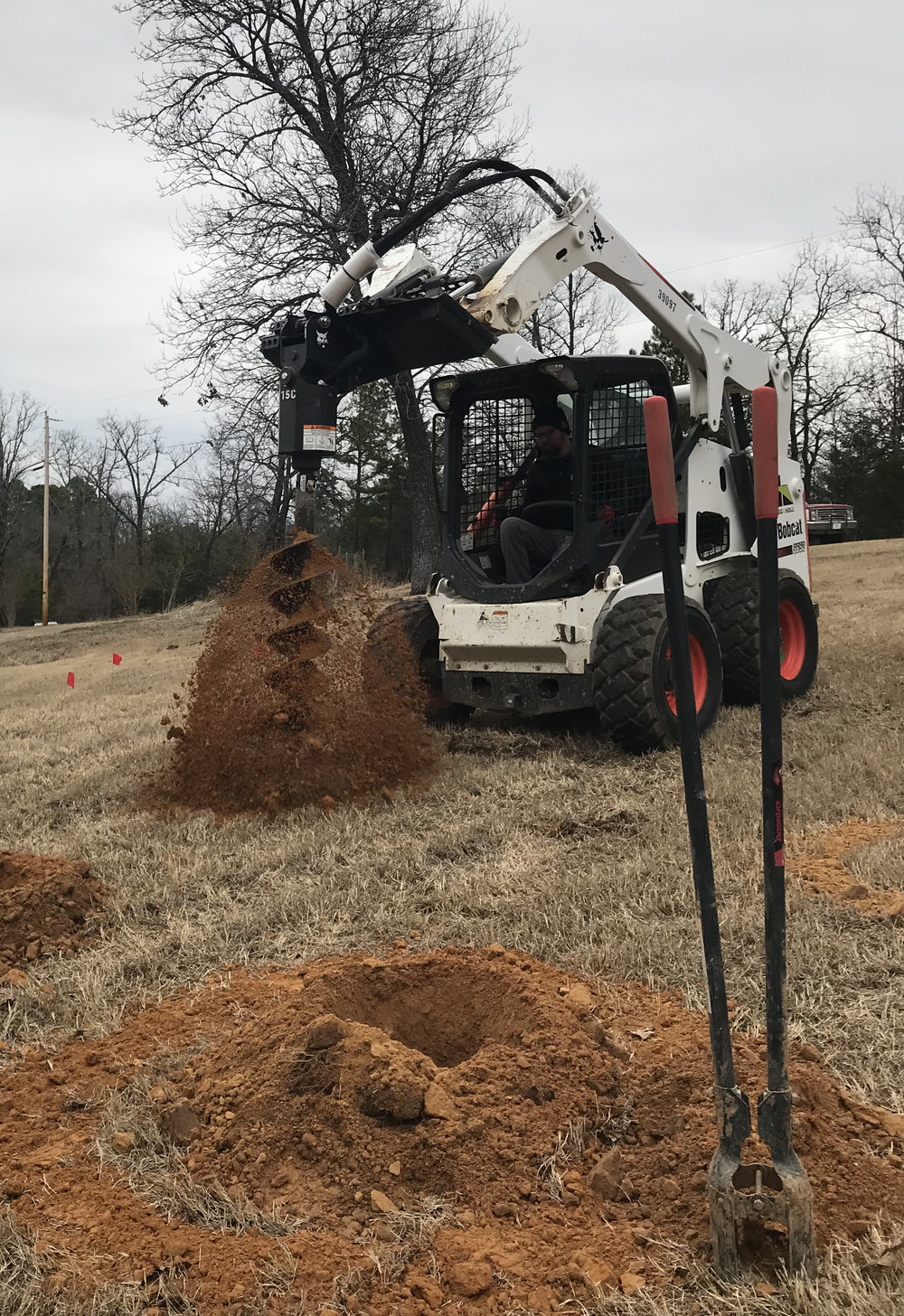 Using a skid steer with auger and trencher attachments,  our ground mount installations are finished between 2-3 days.