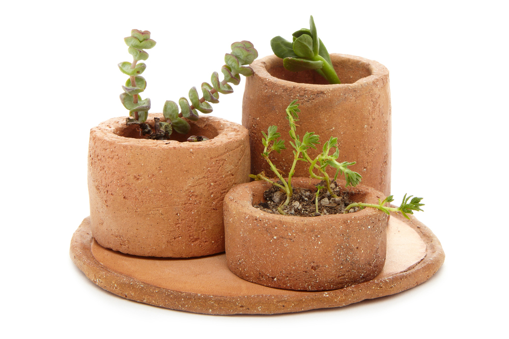 All Hands - Terracotta Mini Planter Set $180