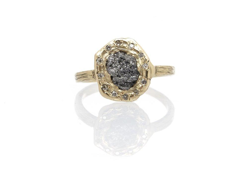 Emilie Shapiro - Rough Diamond Halo Ring $850
