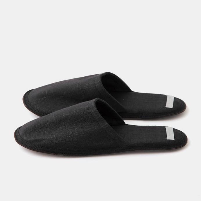 Fog Linen - Graphite Linen Slippers $46