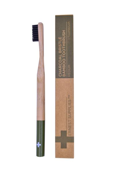 Ernest Supplies - Charcoal Bristle Bamboo Toothbrush $8