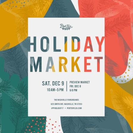 Nashville, check out Porter Flea's Holiday Market this weekend — there will be lots of makers you won't want to miss. Be sure to share your favorites and maybe Mas Tacos after just for us.