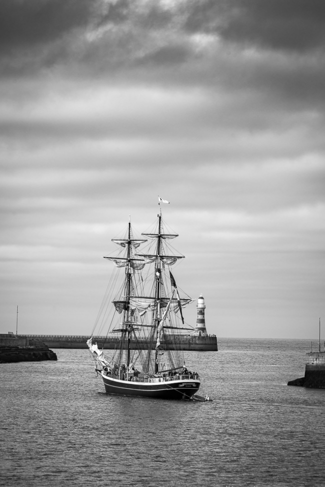 Outward bound Morgenster (NL) departs Roker Light by Mark Roger Bailey