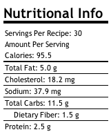 Tahini Spelt Cookies Nutritional Info.
