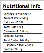 Sprouted Whole Grain Natural Bread Nutritional Info.