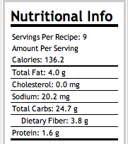 Awesome Apple Crisp Nutritional Info.
