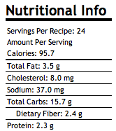 Grab 'n Go Breakfast Cookies Nutritional Info.