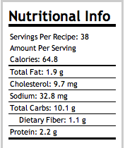 Fruit & Nut & Everything But (Refined Sugar) Cookies Nutritional Info.