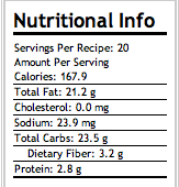 CHEWY GRAIN-OLA BARS Nutritional Info.