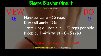 For total arm training, follow thisBiceps Blastercircuitwith the 'Anywhere Triceps Blast Workout' in our VIP or request a download for 5.