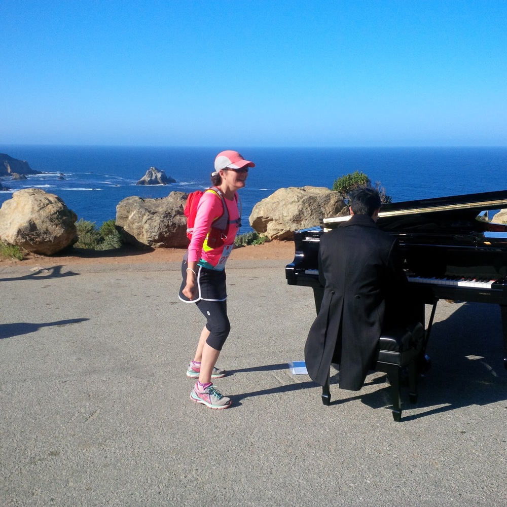 Each year a pianist, Michael Matinez, baby grand for runners passing by.