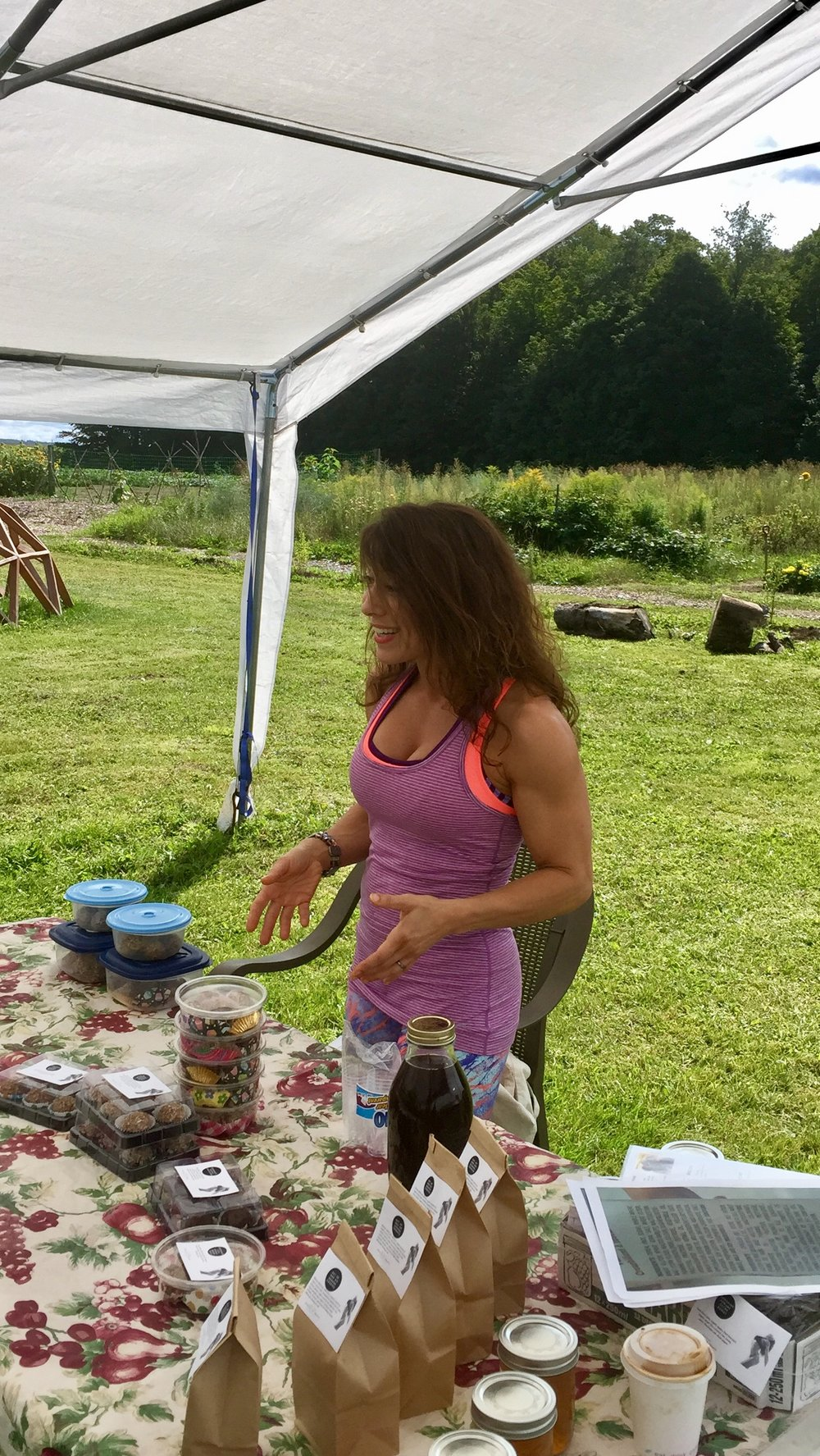 Speaking about my Muscled Up Treats and the power foods I use. (Moondance Organic Gardens)