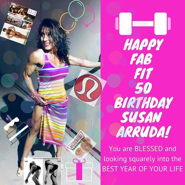 """Susan's husband here, hijacking her IG account for today, her 50thy birthday! Thank you for all the love you send. Please bear with me as I lavish praise! She will get back to her epic workout posts again tomorrow!  Happy 50th birthday to you, Susan Arruda ! You are mega inspiring! You defy age and every time I look at you, I swear you are turning the clock backward. You are fun, full of life, hilarious, sweet and sexy all rolled into one powerhouse package. It is a good thing I know you are honest because NO ONE would believe the date on your license is accurate.  As I look back, I know you have inspired thousands, but as I look forward I know you are JUST GETTING STARTED! You STUN me, I never """"get used"""" to you and it is the joy of my life to share yours with you.  I am looking forward to celebrating with you this weekend because there is way too much to celebrate on a weeknight!  You are amazing. You inspire me every day and I know you are about to see the best God and life have to offer, run you down, tackle you to the ground and beg to give you what you want.  50 FIT FUN FAB PHENOMENAL I adore you! But I do need to have a closer look at your license. YOUR BIGGEST FAN - Always have been since the day I met you. Marco  #ripped #fitmom #fitmoms #fitness #fitnessmotivation #iamsusanarruda #seriouslysexyabs #abs #abtraining #lowerabs #strongwomen #inspiration #healthy #instafitness #diet #strong #figure #determination #lifestyle #coretraining #fitwomen #fit_moms_of_ig #crunch #plank #fatloss #goals #weightloss #weightlossjourney #birthday #50thbirthday"""