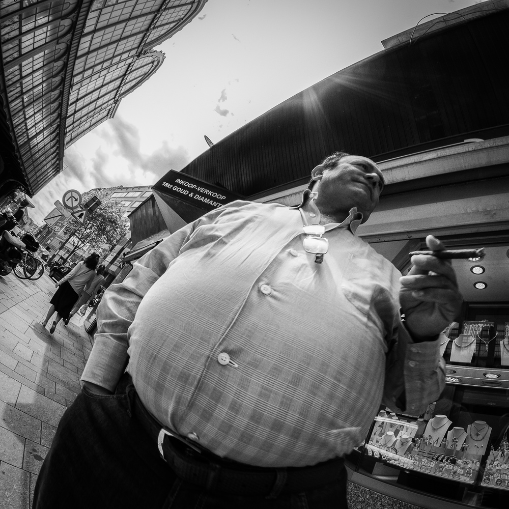 Large people  (click to enlarge) Make some statement with humor... Always works out pretty well. The use of the fisheye exaggerates the size of this man.