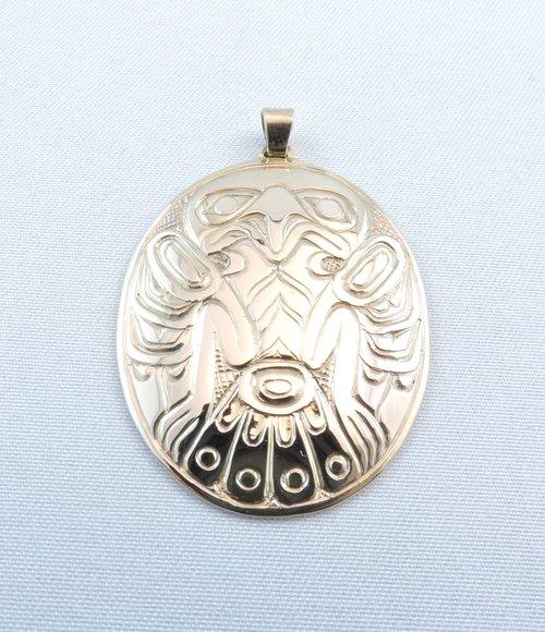 14K Gold Haida Eagle Pendant by Clayton Gladstone