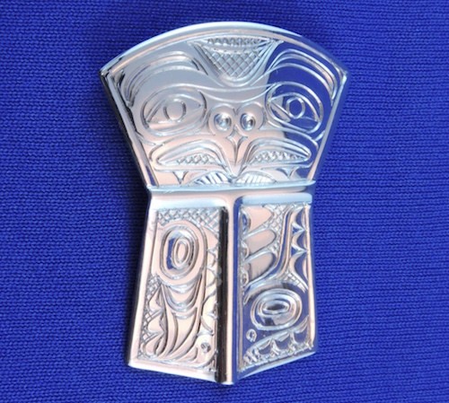 Haida Silver Shield Pendant by Neil Goertzen