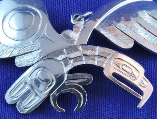 Silver Haida Eagle Cut-out Pendant by Ding Hutchingson
