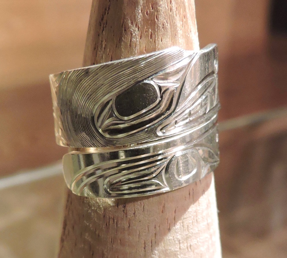 Silver Carved Bear Wrap Ring by Gregory Williams