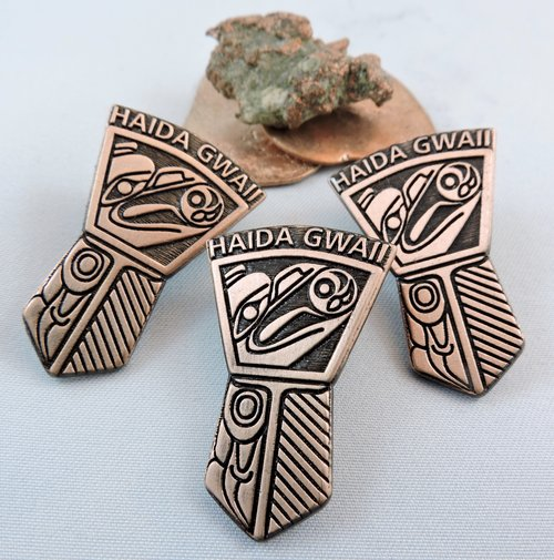 Haida Copper Shield Pin. Design by Haida Artist, Marcel Russ.