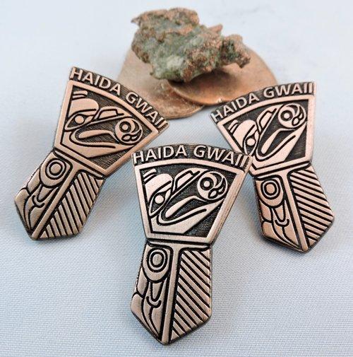 Haida Copper Shield Pin. Design by Haida Artist, Marcel Russ.