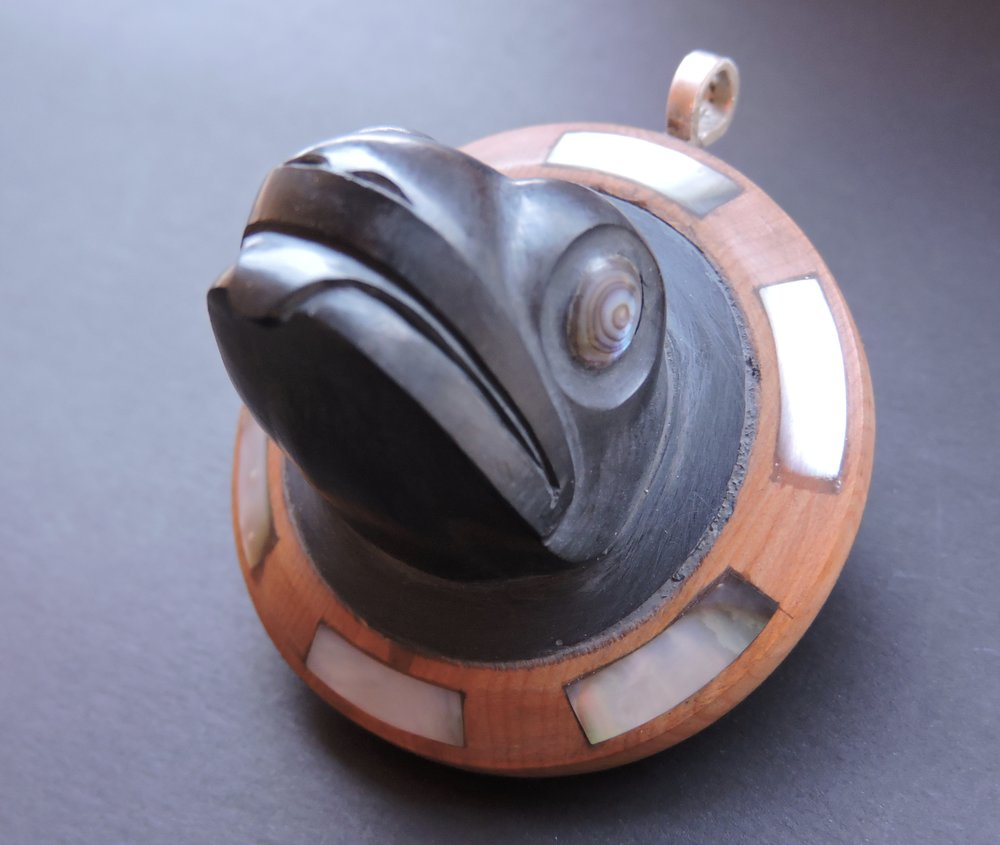 Argillite Frog Pendant with Yew Wood,Black Oyster Shell and Abalone inlay eyes