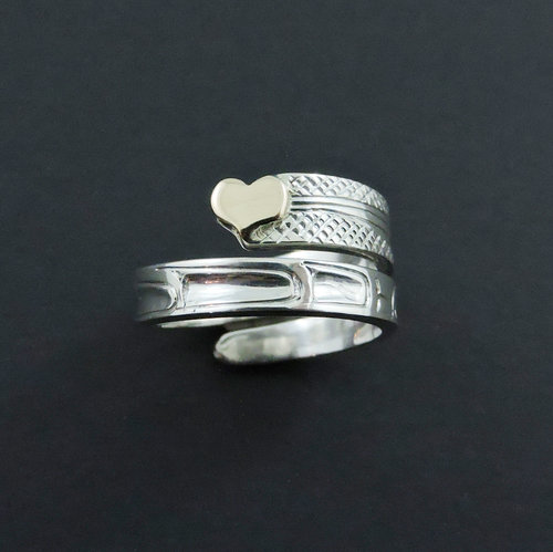 Gold Heart and Hummingbird Silver Wrap Ring by Haida Artist Carmen Goertzen