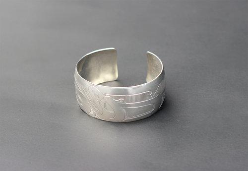 Haida Killer Whale Silver Bracelet:  http://www.crystalcabingallery.com/shop/haida-jewellery/haida-killer-whale-silver-bracelet