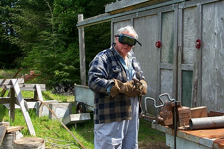 Founder of Crystal Cabin and the visionary behind the Tlell Stone Circle, Dutes Dutheil, creating one of the steel encasings that the stones rest on today.