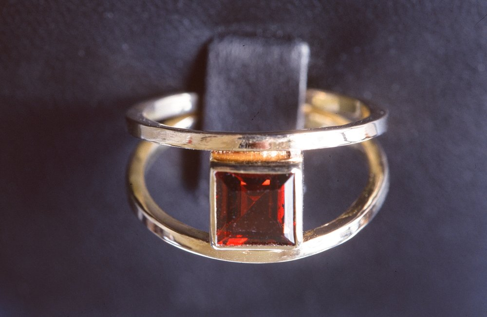 Square cut Garnet Ring, set in 14K Gold.  Inquire to custom order.