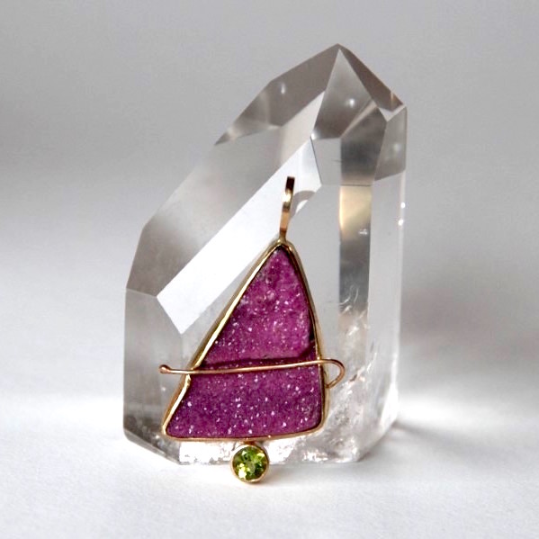 Cobaltoan Drusy Quartz Pendant with Peridot Gemstone in 14K Gold. Available for purchase.