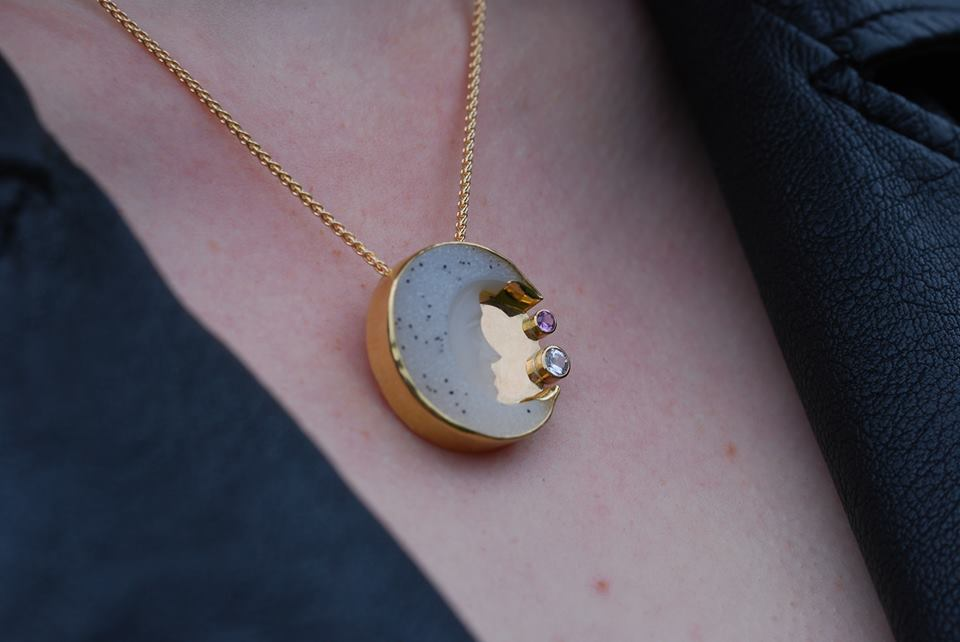 Quartz Crystal Drusy Moon with White and Pink Sapphires in 14K Gold. Available for purchase.