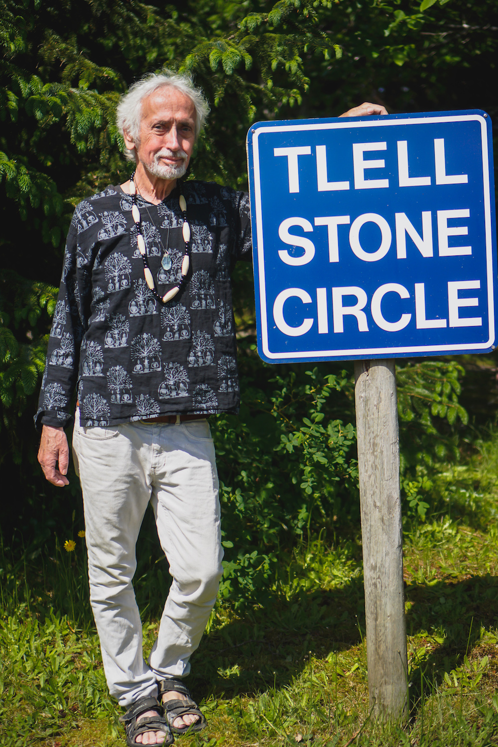Dutes Dutheil, the creator of the Tlell Stone Circle. Photo by Patrick Shannon / www.innonative.ca