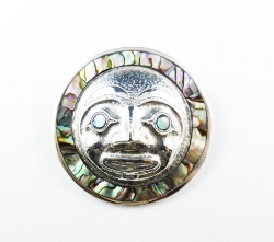 Moon Medallion of Silver and Abalone Inlay