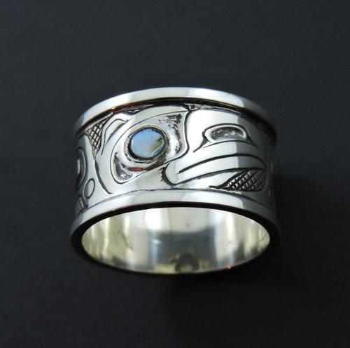 Oxidized Silver Raven Ring with Abalone inlay