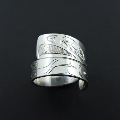 Silver Eagle Wrap Ring. Wrap rings can be easily adjusted to fit most ring sizes.