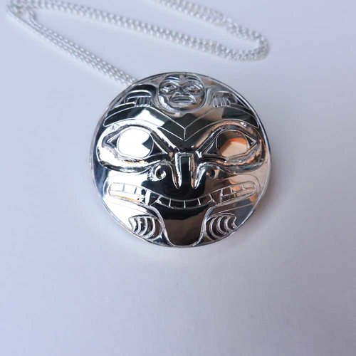 Silver Bear Mother Pendant with Silver Chain from Crystal Cabin