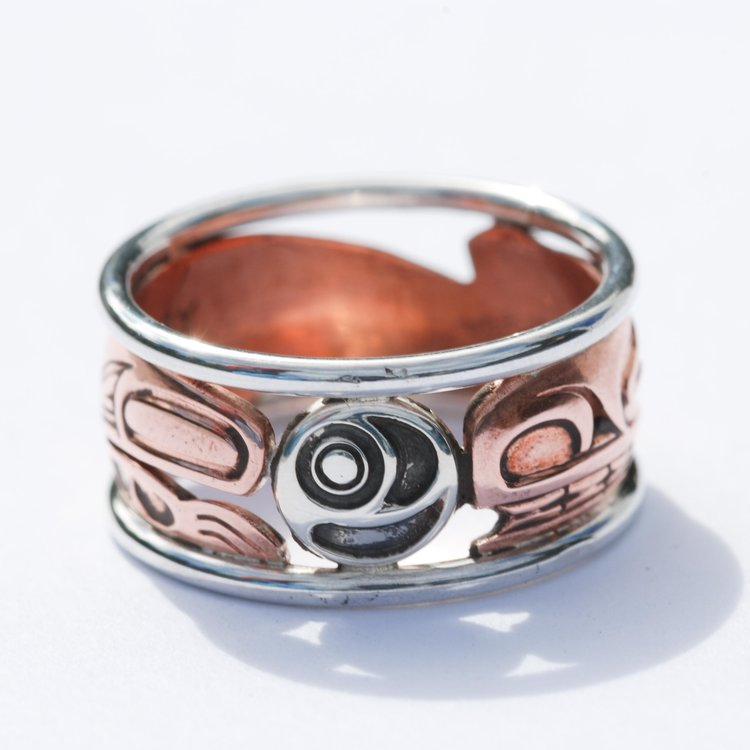 Bear with Salmon Egg Copper & Silver Ring