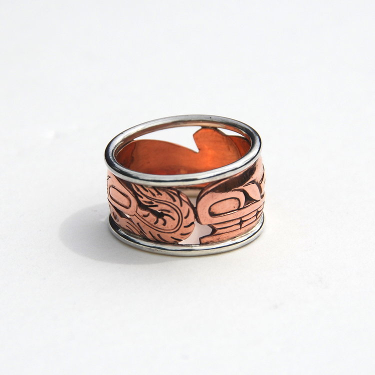 Haida Sea Wolf (Wasco) Copper & Silver Ring