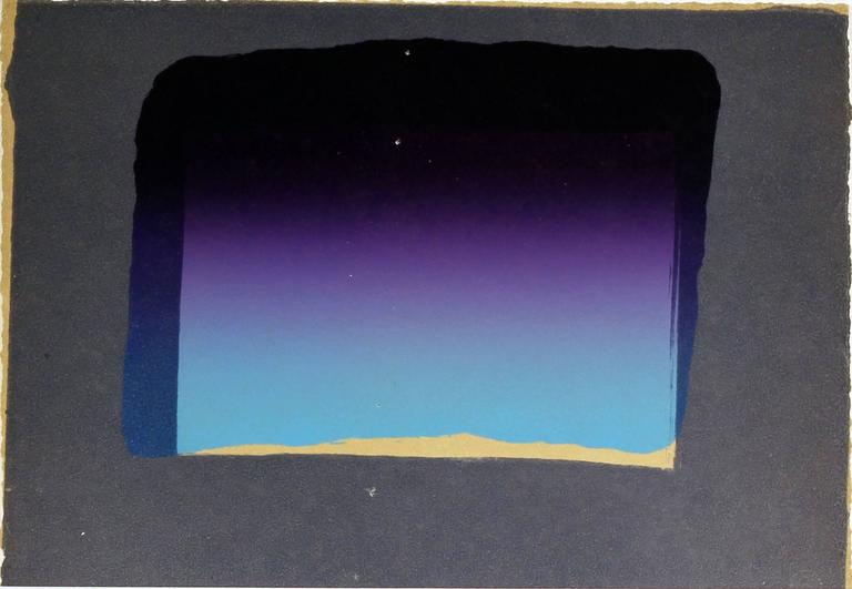 Artist: Howard Hodgkin  Title: Sky from More Indian Views, 1976  Edition of 60  Medium: Lithograph on Paper  Dimensions: 23 cm (h) x 30.5 cm (w)